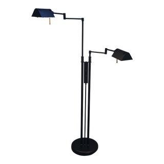 1980s Memphis Style Black Double Adjustable Floor Lamp For Sale