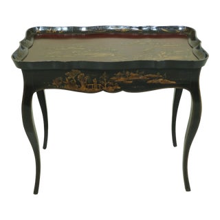 1990s Chinoiserie Decorated Scalloped Dish Top Tea Table For Sale