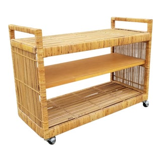 Mid Century Boho Chic Rattan Rolling Cart For Sale