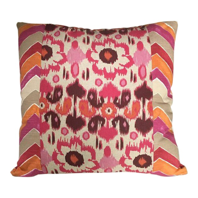 Kim Salmela Pink and Orange Patchwork Pillow - Image 1 of 3