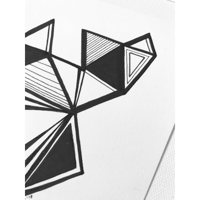 """Modern Original Pen & Ink Drawing """"Variations on a Triangle"""" For Sale - Image 3 of 6"""