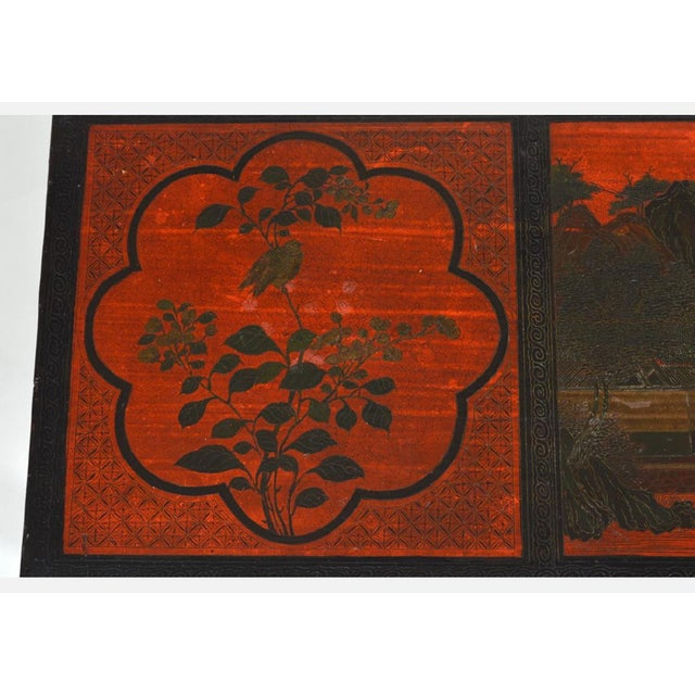 Vintage Chinese Red Chinoiserie Lacquer Low Table For Sale - Image 4 of 9