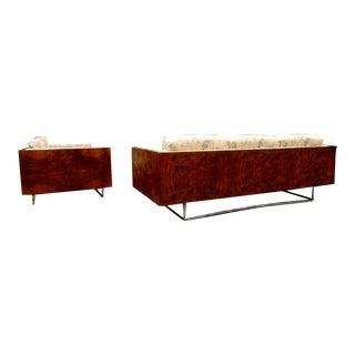 Milo Baughman for Thayer Coggin Burl Wood Case Sofa & Loveseat- a Pair For Sale