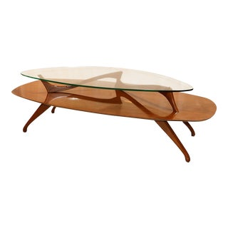 Mid Century Modern Two Tier Vladimir Kagan Style Walnut Coffee Table