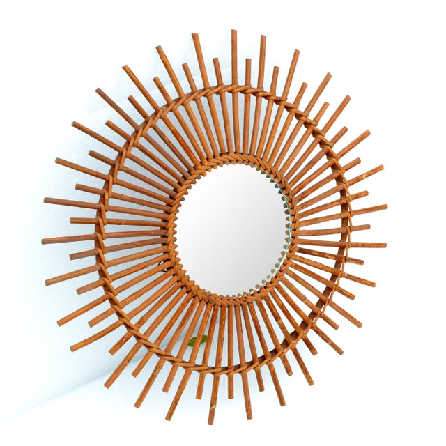 1970s Bohemian Chic French Handcrafted Round Ficks Reed & Woven Wicker Wall Mirror For Sale - Image 5 of 13