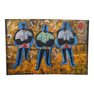 Three Blue Men Oil Painting on Canvas For Sale