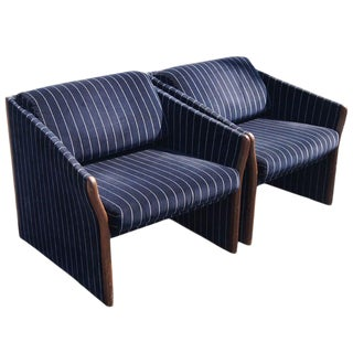 1970s Vintage Striped Brayton Lounge Chairs- A Pair For Sale