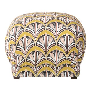 Square Ottoman in Chan Scallop Citrine Oga For Sale