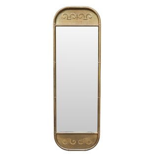 Mastercraft Mid Century Faux Bamboo Brass Mirror For Sale