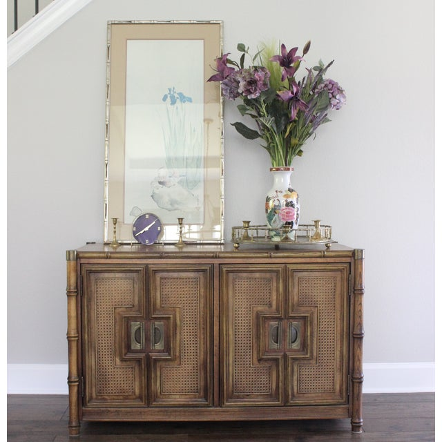 Stanley Mid Century Faux Bamboo Credenza - Image 9 of 11