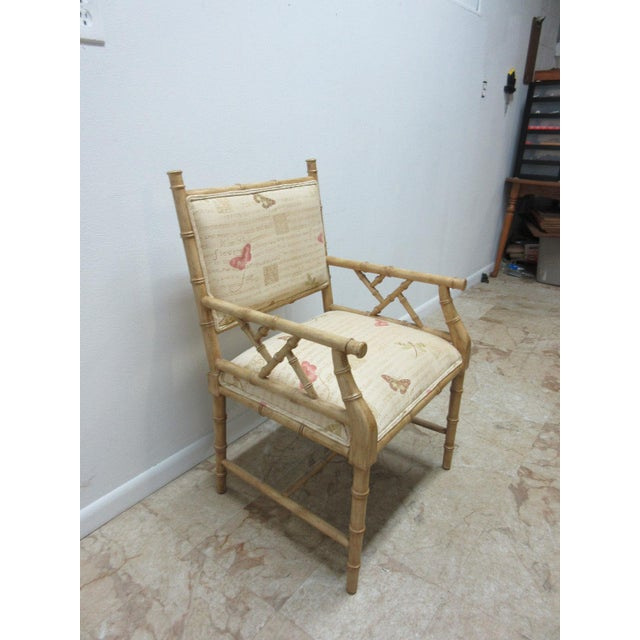 Contemporary Vintage Faux Bamboo Regency Armchair For Sale - Image 3 of 9