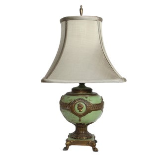 1930s French Roman Hellenistic Green & Gold Accent Lamp For Sale