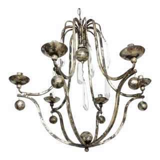 Italian French Farmhouse Forged Iron Distressed Crystal Chandelier For Sale