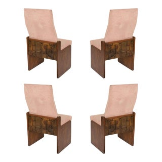 Set of 4 Brutalist Walnut Dining Chairs by Lane Late 50's For Sale