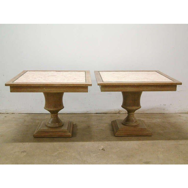 Custom Cerused Oak, Brass and Marble End Tables - A Pair For Sale - Image 4 of 8