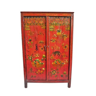 Antique Painted Tibetan Cabinet For Sale
