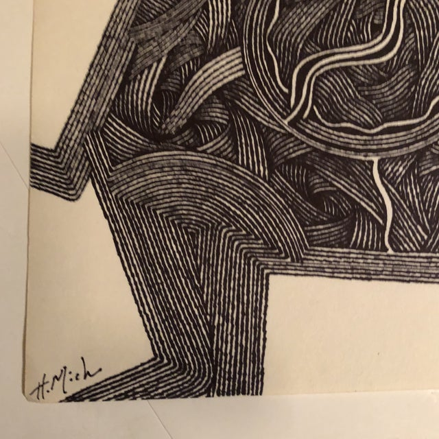 Original ink drawing on paper signed lower left 8.5 x 14 From a series Unframed