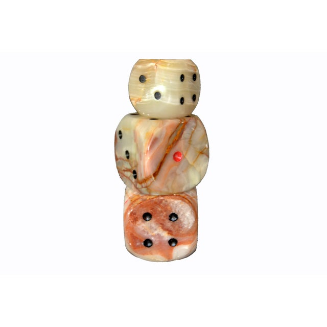 Oversized Mid-Century Modern Handcrafted Marble & Onyx Dice Sculptures - Set of 3 For Sale - Image 4 of 13