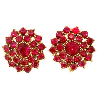 20th Century Gold & Rose Cut Garnet Dimensional Earrings For Sale