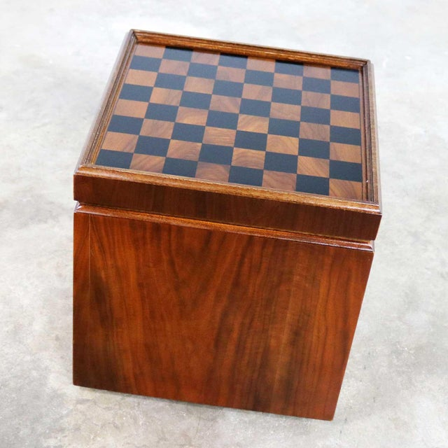 Mid 20th Century Mid Century Modern Lane Rolling Cube Storage Ottoman With Game Board Flip Table Top For Sale - Image 5 of 13