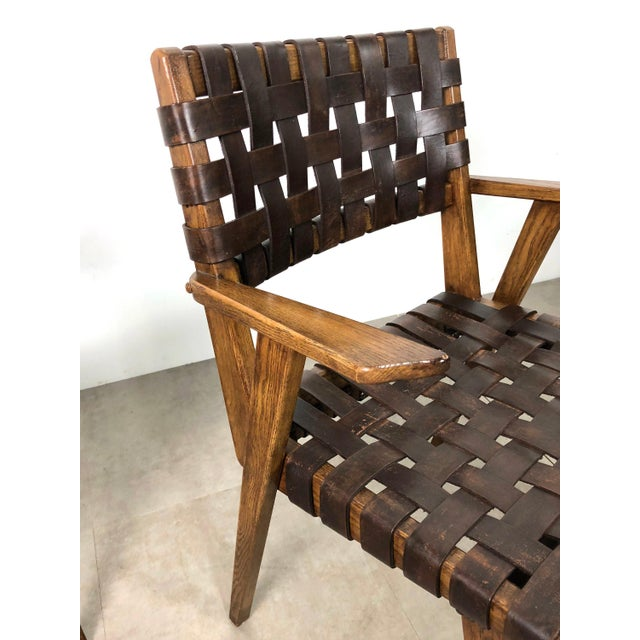 Pair of Mid-Century Modern Leather Webbed Chairs For Sale - Image 4 of 10