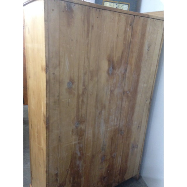 Antique Unpainted Rustic Pine Armoire For Sale - Image 10 of 11