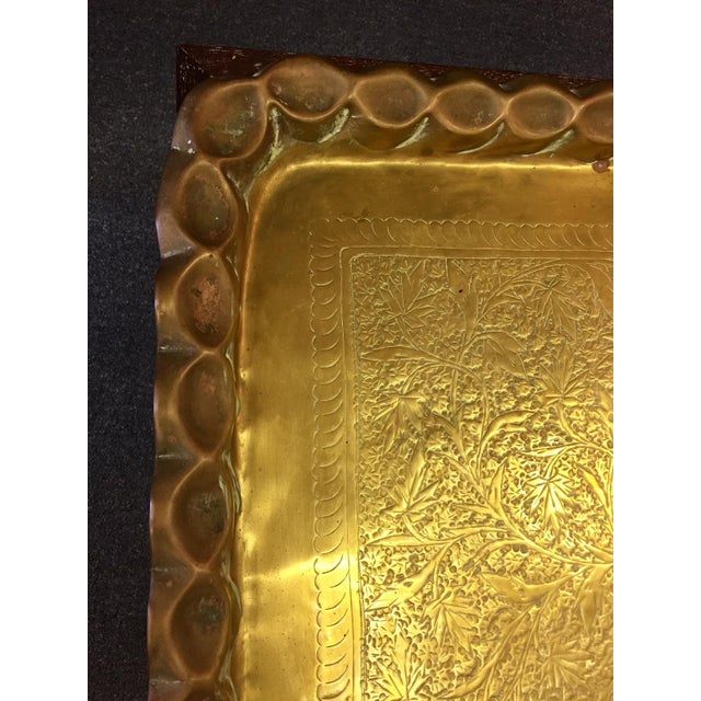 Moroccan Style Hand-Etched and Hammered Brass Tray Top Table For Sale - Image 9 of 12