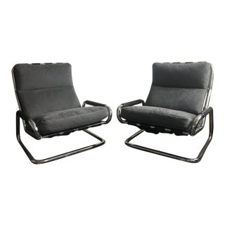 Chrome Armchairs With Grey Suede Cushions - a Pair For Sale