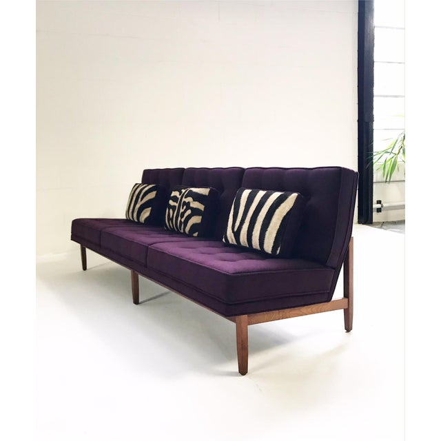 Forsyth Vintage Florence Knoll Sofa Restored in Loro Piana Cashmere With Custom Zebra Hide Pillows For Sale - Image 13 of 13