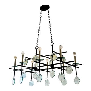 Sethos Black Rectangular Chandelier by Curry & Company For Sale