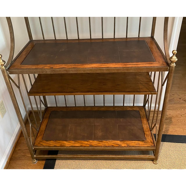 Rustic Spanish Drexel Bakers Rack For Sale - Image 3 of 9