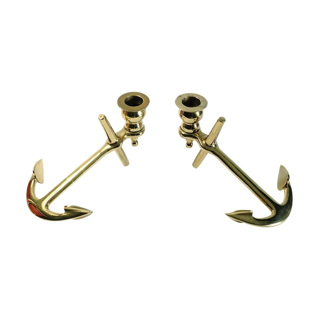 Brass Anchor Candle Holders - A Pair - Image 1 of 5