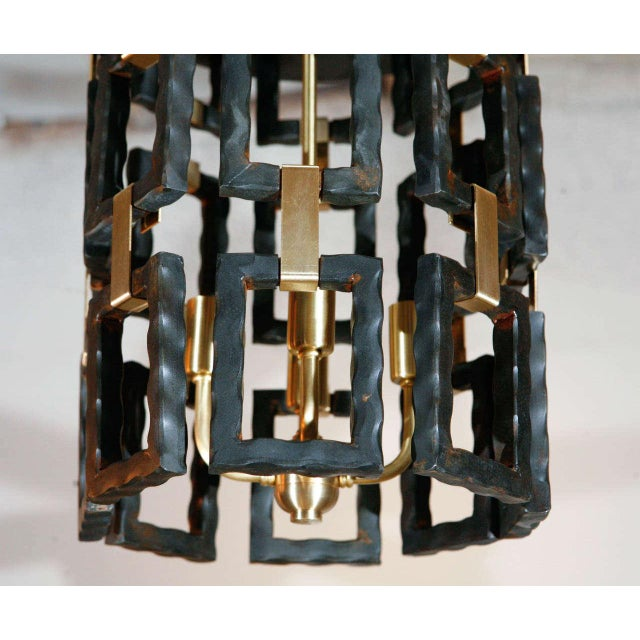 Contemporary Paul Marra Link Light Fixture in Brass and Oil Rubbed Bronze For Sale - Image 3 of 5