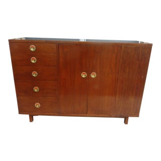 1950s Mid Century Modern Dunbar Edward Wormley Janus Cabinet With Natzler Tiles For Sale