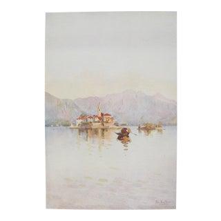 1905 Original Italian Print - Italian Travel Colour Plate - Isola Pescatori and the Sasso DI Ferro, Lago Maggiore For Sale