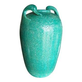1960s Green Swan Motif Glazed Pottery Vase For Sale