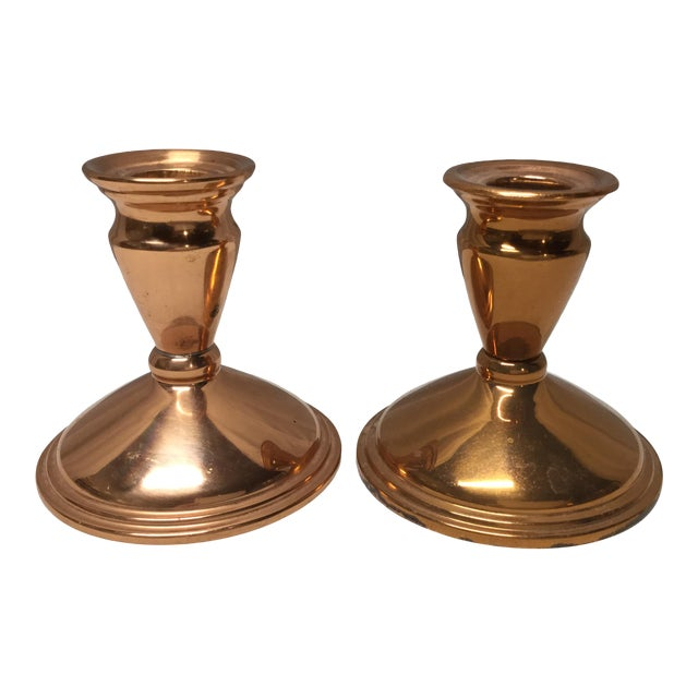 Mid-Century Copper Candle Holders - a Pair For Sale