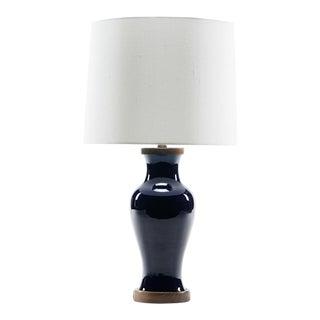 Lawrence & Scott Gabrielle Baluster Porcelain Lamp in Cobalt With Hand Turned Walnut Base For Sale