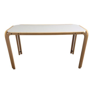 Aalto Artek Style Console With Icy Pale Blue Laminate Top
