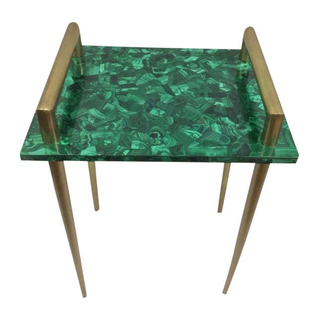 Malachite & Metal Handle Side Table - Image 2 of 2