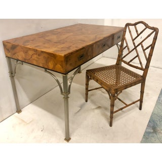 Campaign Style Italian Burlwood Desk and Chair Preview