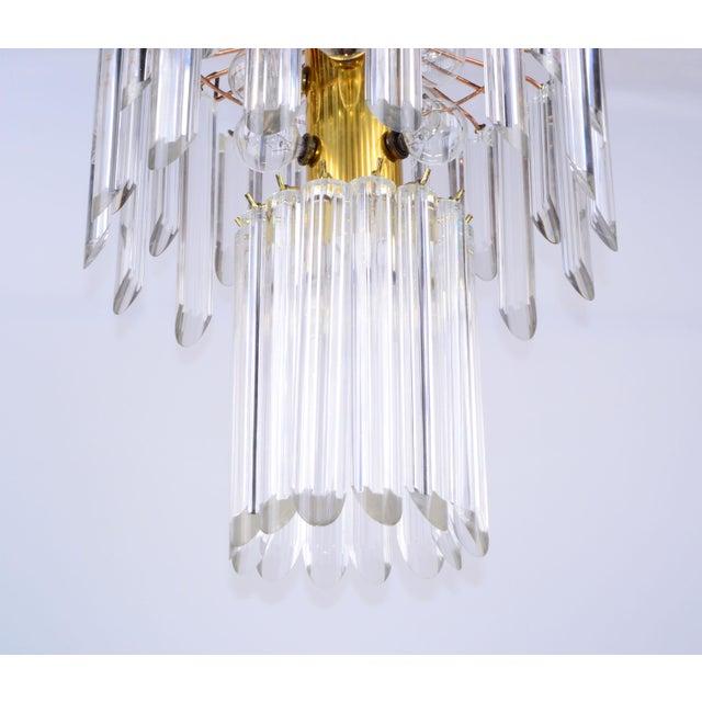 Mid-Century Modern Lucite & Brass Chandelier - Image 5 of 10