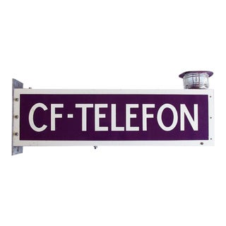 Vintage Danish Cold War Era Telephone Sign