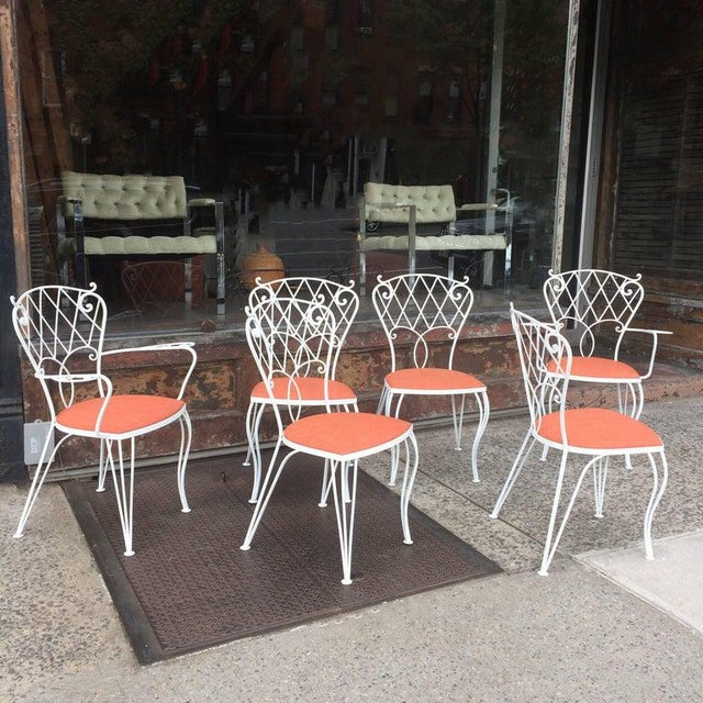 Hollywood Regency Mid Century Wrought Iron Patio Garden Dining Chair Set- 6 Pieces For Sale - Image 3 of 9