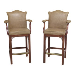 1990s Vintage Century Leather Bar Stool High Chairs- A Pair For Sale