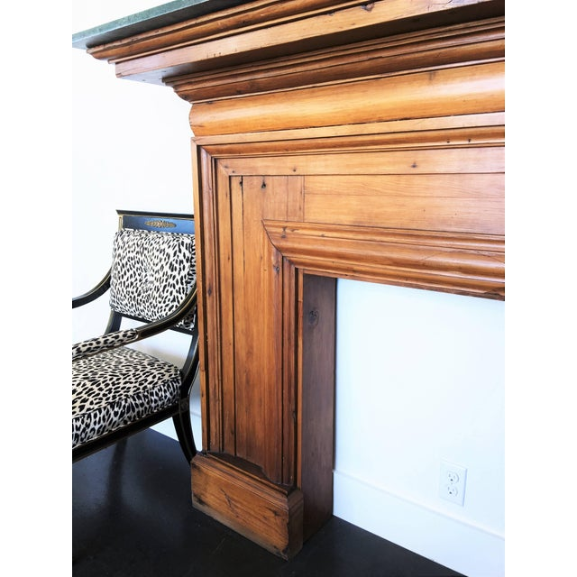 Wood Antique Mahogany Fireplace Mantel With Green Marble Top For Sale - Image 7 of 9