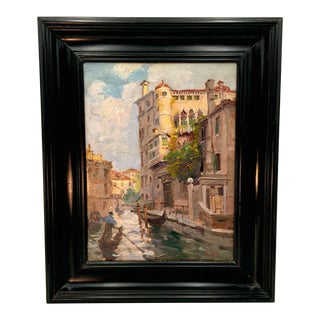 Early 20th Century Impressionist Venice Canal Scene Oil Painting by Alberto Rossi For Sale