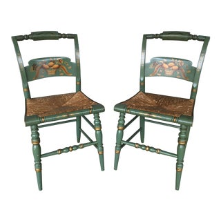 L. Hitchcock Paint Decorated Crown Back Rush Bottom Side Chairs - a Pair For Sale