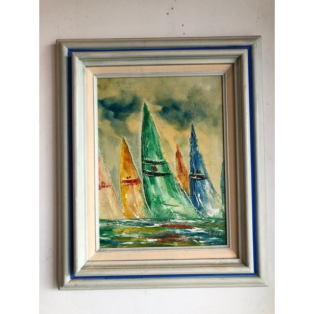 Green Coastal Vintage Sail Boats Painting For Sale - Image 8 of 11
