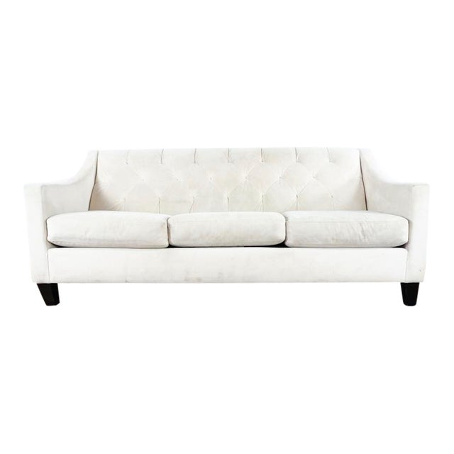 Contemporary White Upholstered Button Tufted Sofa | Chairish